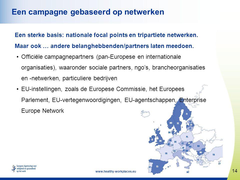 14 www.healthy-workplaces.eu Een campagne gebaseerd op netwerken Een sterke basis: nationale focal points en tripartiete netwerken. Maar ook … andere