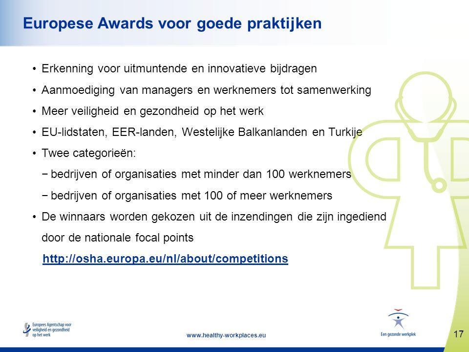 17 www.healthy-workplaces.eu Europese Awards voor goede praktijken •Erkenning voor uitmuntende en innovatieve bijdragen •Aanmoediging van managers en