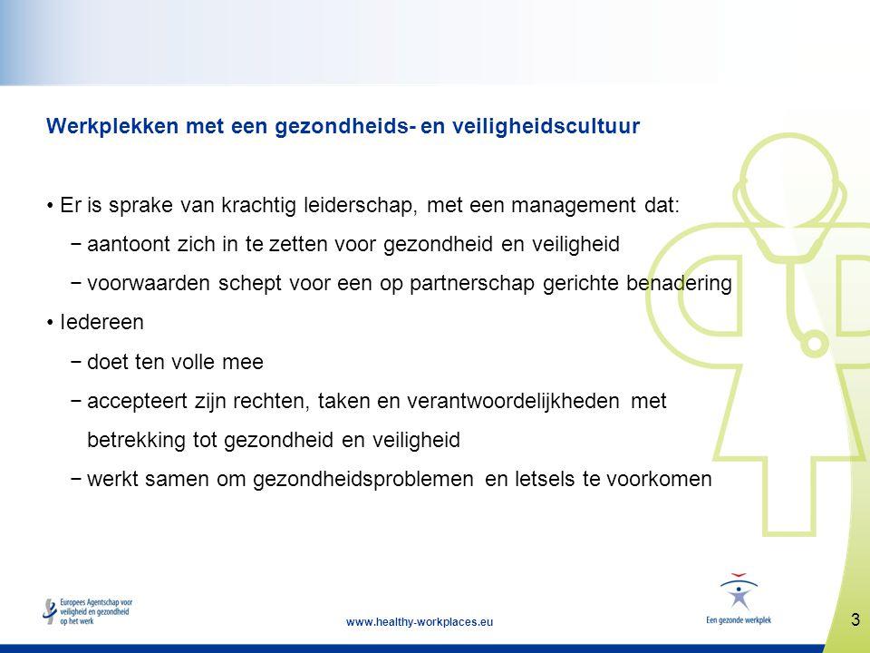 3 www.healthy-workplaces.eu Werkplekken met een gezondheids- en veiligheidscultuur • Er is sprake van krachtig leiderschap, met een management dat: −a