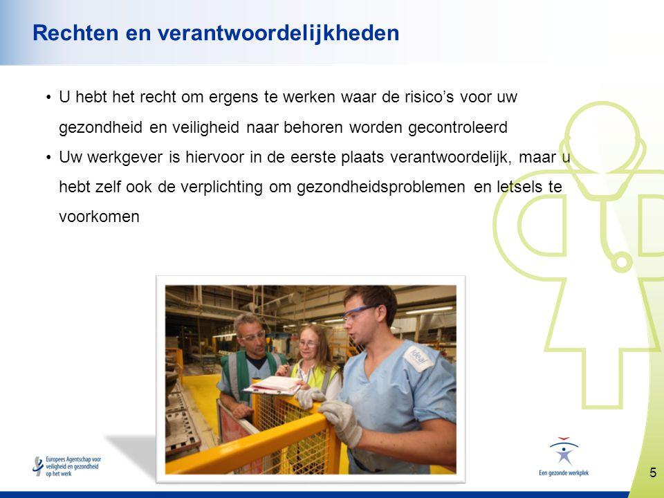 5 www.healthy-workplaces.eu Rechten en verantwoordelijkheden •U hebt het recht om ergens te werken waar de risico's voor uw gezondheid en veiligheid n