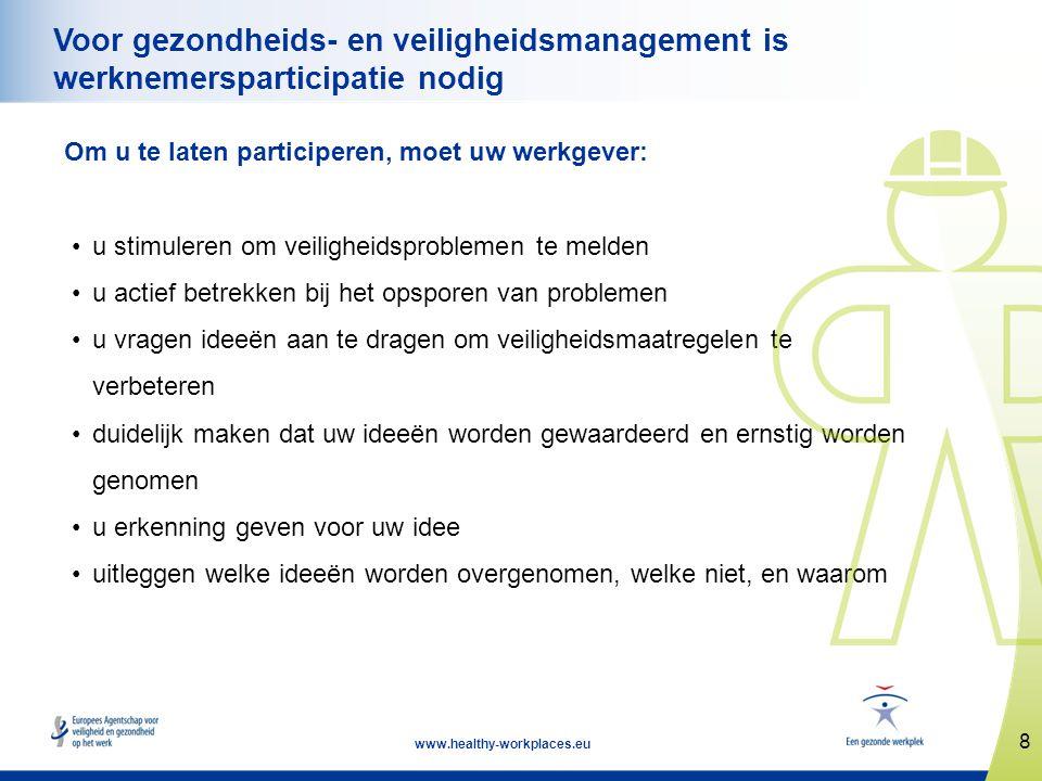8 www.healthy-workplaces.eu Voor gezondheids- en veiligheidsmanagement is werknemersparticipatie nodig Om u te laten participeren, moet uw werkgever: