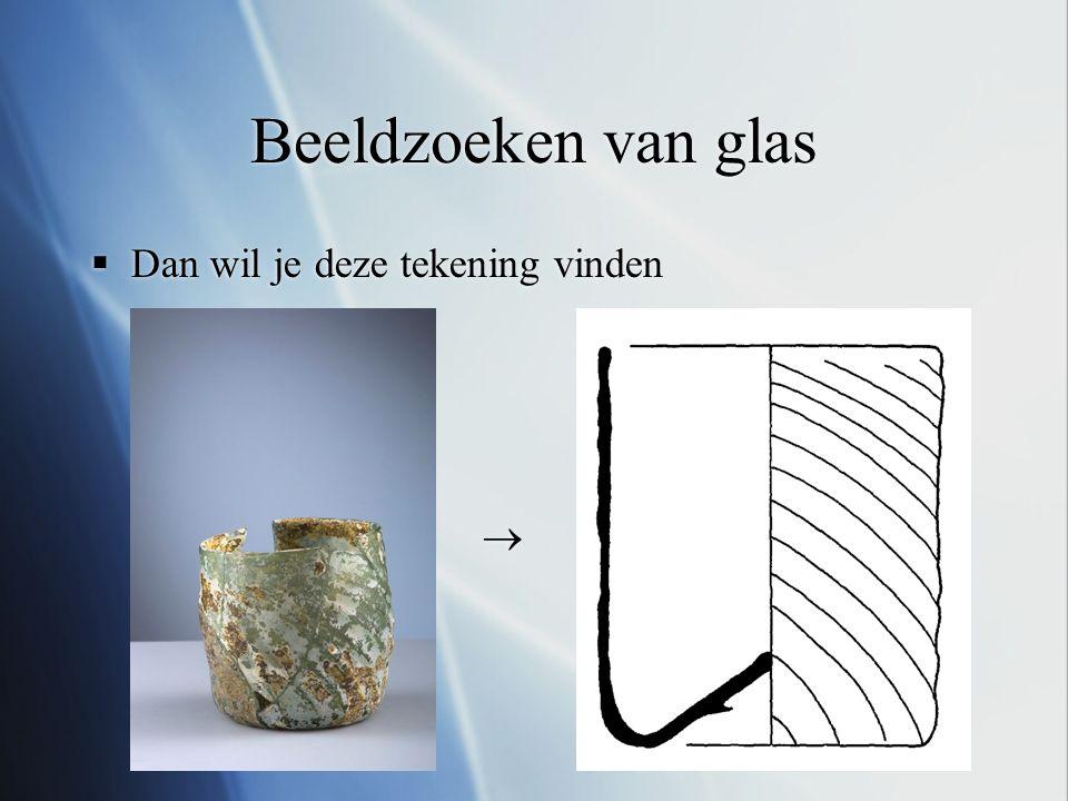 Beeldzoeken van glas  Vorm is een onderscheidend kenmerk van glas  Daarnaast is het een eigenschap die goed te extraheren is uit zowel foto's als tekeningen  Daarom focus op vormen vergelijken  Er zijn echter een aantal problemen, want:  Zien waar het object op de foto is is niet triviaal  Artefacten op foto's zijn vaak kapot  Rotatie effecten op foto's  Tekeningen bevatten interpretaties van de tekenaar  De grootte van het object is niet bruikbaar als eigenschap  Vorm is een onderscheidend kenmerk van glas  Daarnaast is het een eigenschap die goed te extraheren is uit zowel foto's als tekeningen  Daarom focus op vormen vergelijken  Er zijn echter een aantal problemen, want:  Zien waar het object op de foto is is niet triviaal  Artefacten op foto's zijn vaak kapot  Rotatie effecten op foto's  Tekeningen bevatten interpretaties van de tekenaar  De grootte van het object is niet bruikbaar als eigenschap
