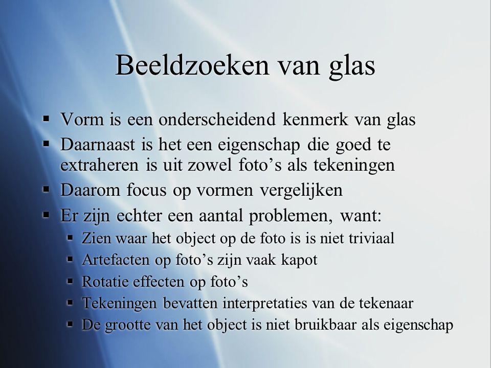 Beeldzoeken van glas  Vorm is een onderscheidend kenmerk van glas  Daarnaast is het een eigenschap die goed te extraheren is uit zowel foto's als te