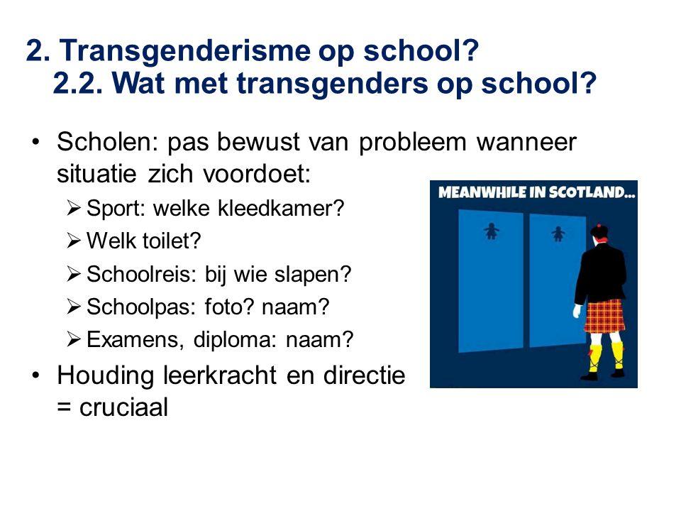 •Scholen: pas bewust van probleem wanneer situatie zich voordoet:  Sport: welke kleedkamer?  Welk toilet?  Schoolreis: bij wie slapen?  Schoolpas: