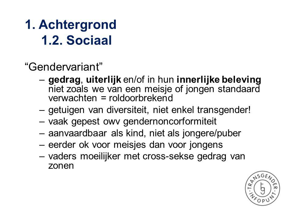 • A-typische gender-ontwikkeling • Genderidentiteitsstoornis (GID)  Term uit DSM-IV en ICD-10  Iemand geboren met alle geslachtskenmerken van één sekse, maar de beleving van het geslacht (het identiteitsgevoel), komt niet (volledig) overeen met deze sekse, gepaard gaande met onbehagen en lijden  DSM V: Genderdysforie 1.