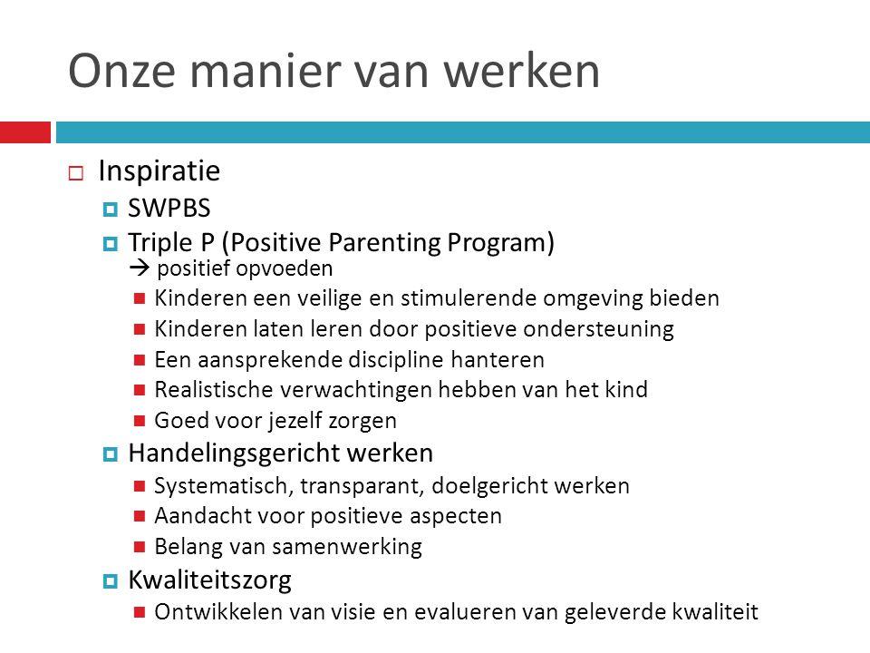 Onze manier van werken  Inspiratie  SWPBS  Triple P (Positive Parenting Program)  positief opvoeden  Kinderen een veilige en stimulerende omgevin