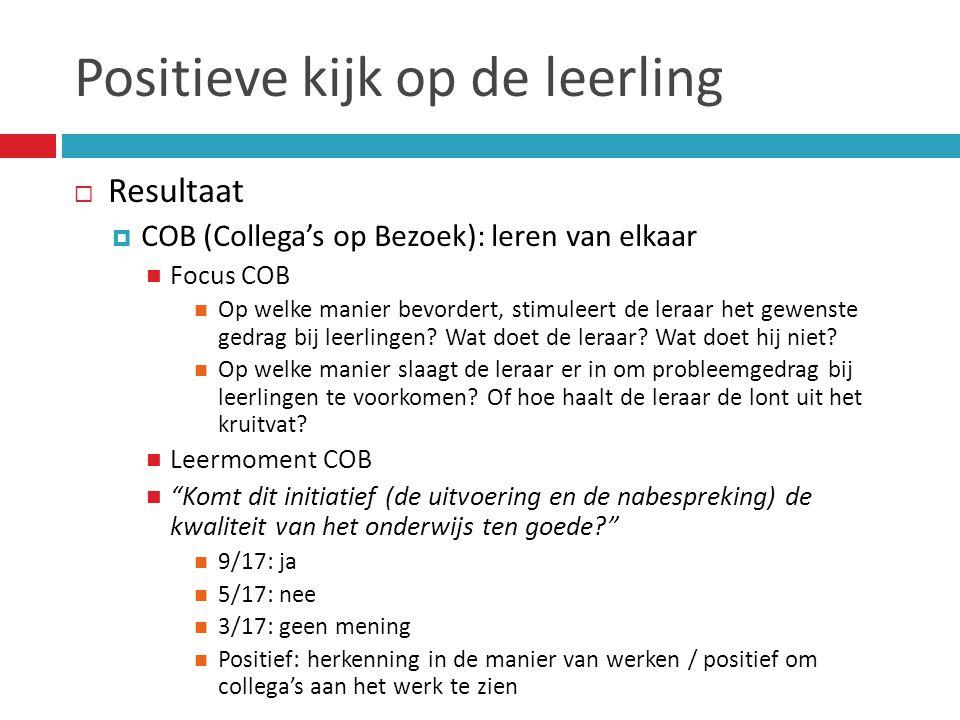 Positieve kijk op de leerling  Resultaat  COB (Collega's op Bezoek): leren van elkaar  Focus COB  Op welke manier bevordert, stimuleert de leraar het gewenste gedrag bij leerlingen.
