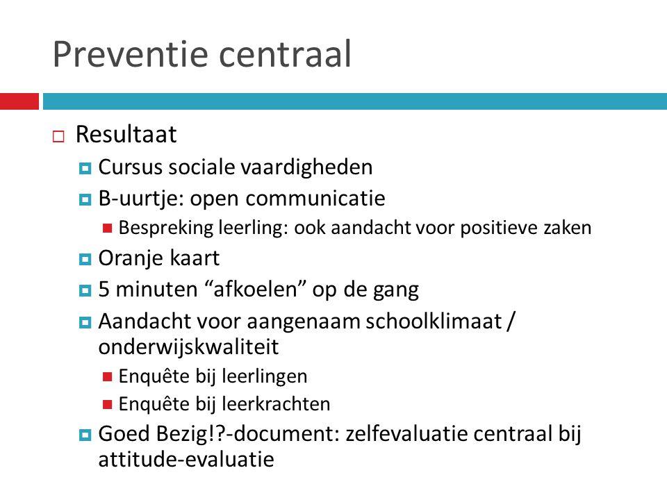 Preventie centraal  Resultaat  Cursus sociale vaardigheden  B-uurtje: open communicatie  Bespreking leerling: ook aandacht voor positieve zaken 