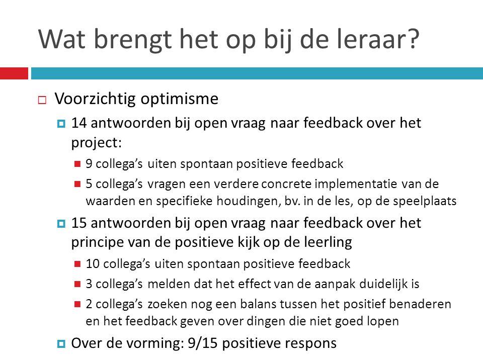 Wat brengt het op bij de leraar?  Voorzichtig optimisme  14 antwoorden bij open vraag naar feedback over het project:  9 collega's uiten spontaan p