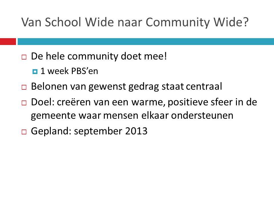 Van School Wide naar Community Wide?  De hele community doet mee!  1 week PBS'en  Belonen van gewenst gedrag staat centraal  Doel: creëren van een