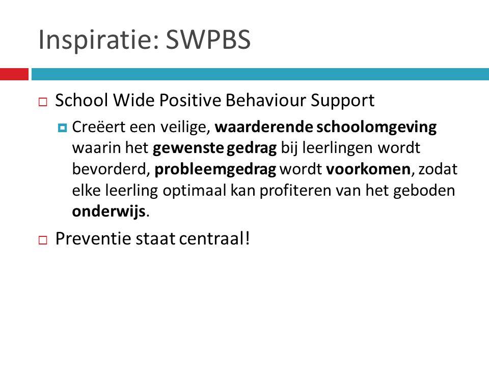 Inspiratie: SWPBS  School Wide Positive Behaviour Support  Creëert een veilige, waarderende schoolomgeving waarin het gewenste gedrag bij leerlingen wordt bevorderd, probleemgedrag wordt voorkomen, zodat elke leerling optimaal kan profiteren van het geboden onderwijs.