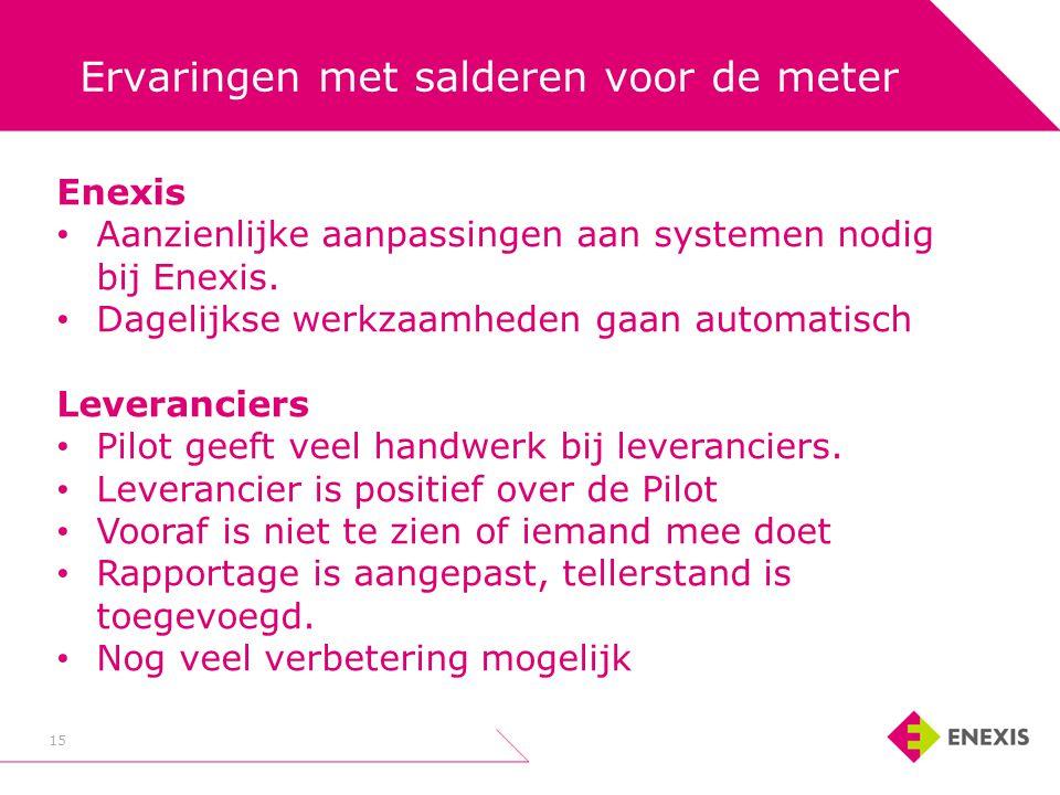 15 Ervaringen met salderen voor de meter Enexis • Aanzienlijke aanpassingen aan systemen nodig bij Enexis. • Dagelijkse werkzaamheden gaan automatisch