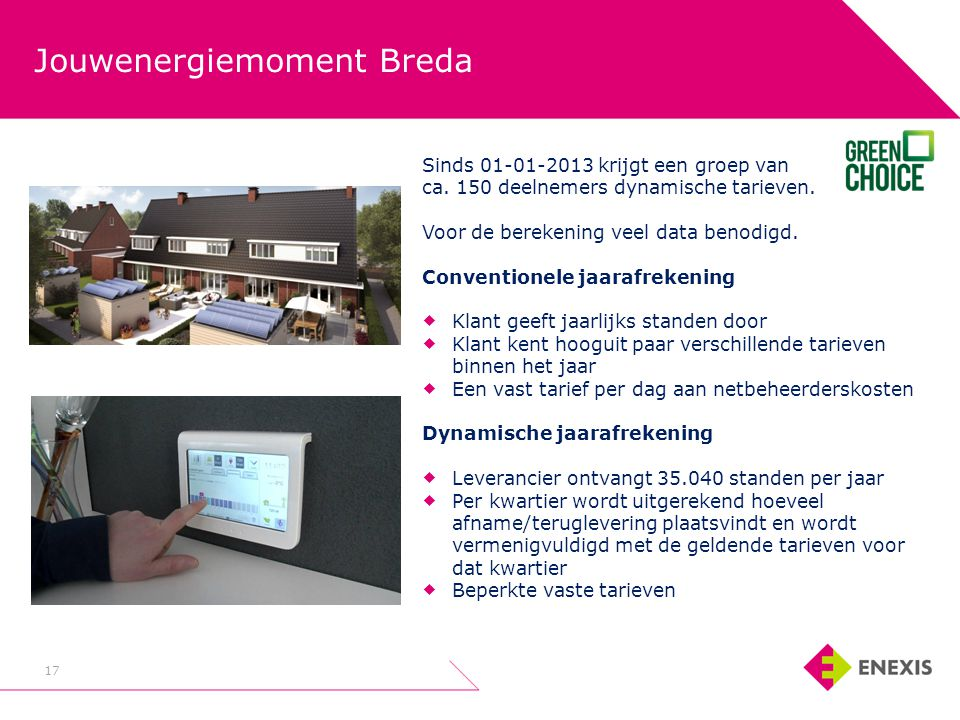 Jouwenergiemoment Breda 17 Sinds 01-01-2013 krijgt een groep van ca. 150 deelnemers dynamische tarieven. Voor de berekening veel data benodigd. Conven