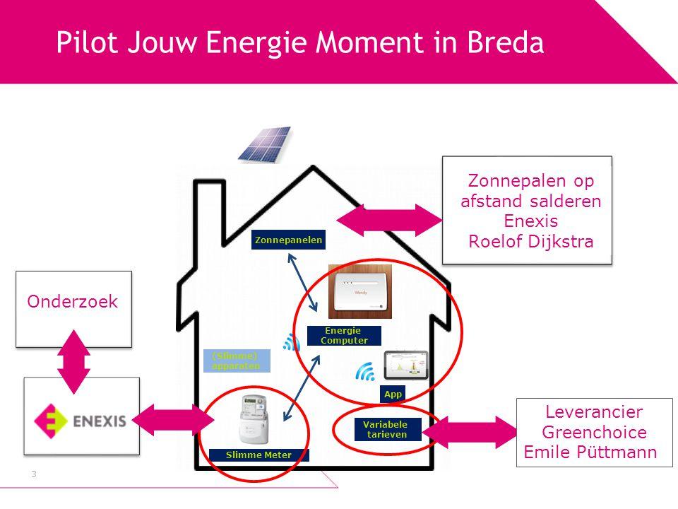 Salderen voor de meter Easystreet Op afstand elektriciteit opwekken 4 Roelof Dijkstra, Enexis 27 november 2013