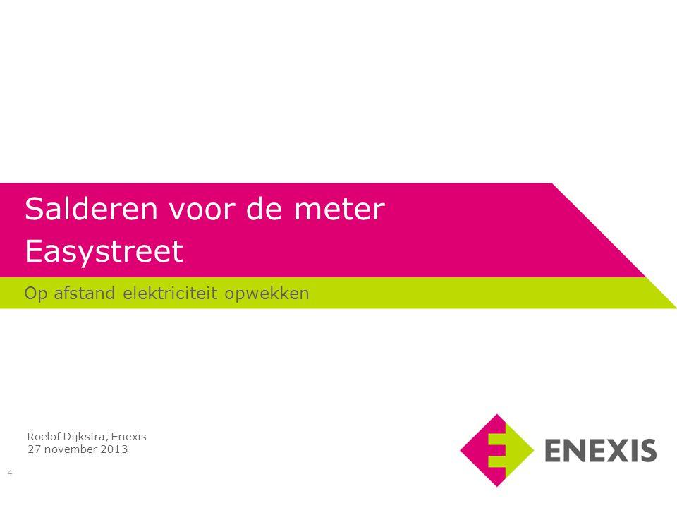15 Ervaringen met salderen voor de meter Enexis • Aanzienlijke aanpassingen aan systemen nodig bij Enexis.