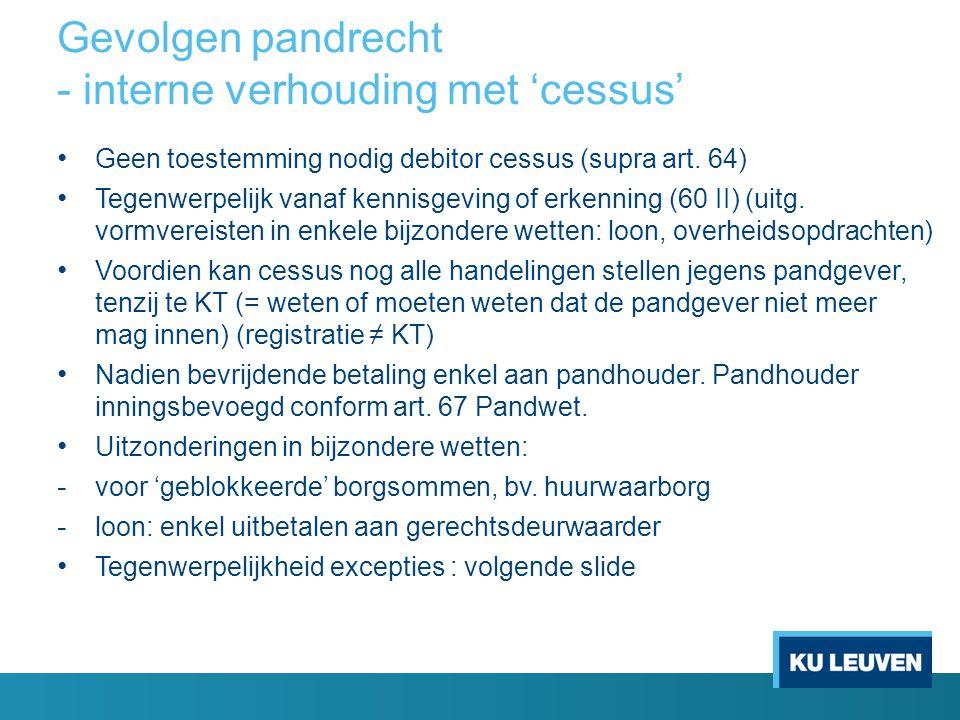 Gevolgen pandrecht - interne verhouding met 'cessus' • Geen toestemming nodig debitor cessus (supra art. 64) • Tegenwerpelijk vanaf kennisgeving of er