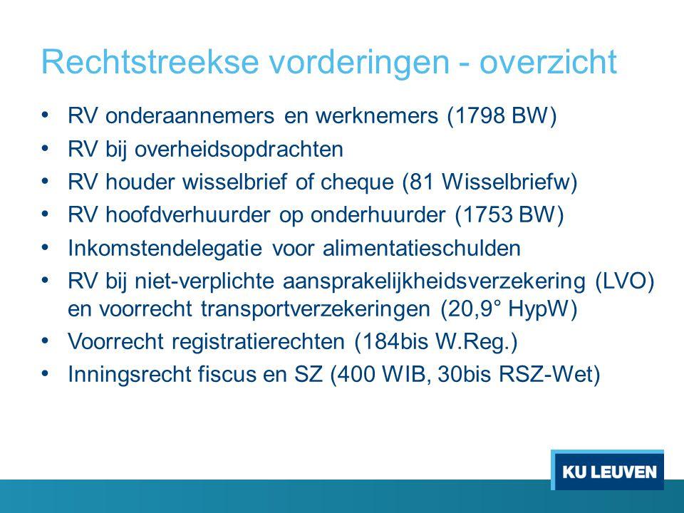 Rechtstreekse vorderingen - overzicht • RV onderaannemers en werknemers (1798 BW) • RV bij overheidsopdrachten • RV houder wisselbrief of cheque (81 W