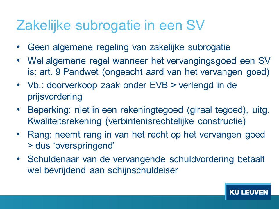 Zakelijke subrogatie in een SV • Geen algemene regeling van zakelijke subrogatie • Wel algemene regel wanneer het vervangingsgoed een SV is: art. 9 Pa