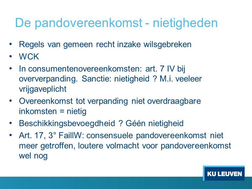 De pandovereenkomst - nietigheden • Regels van gemeen recht inzake wilsgebreken • WCK • In consumentenovereenkomsten: art. 7 IV bij oververpanding. Sa