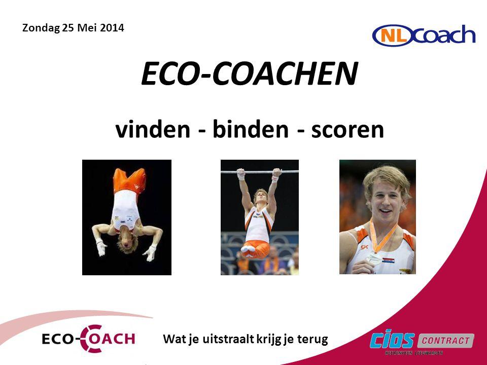 1 vinden - binden - scoren ECO-COACHEN Wat je uitstraalt krijg je terug Zondag 25 Mei 2014