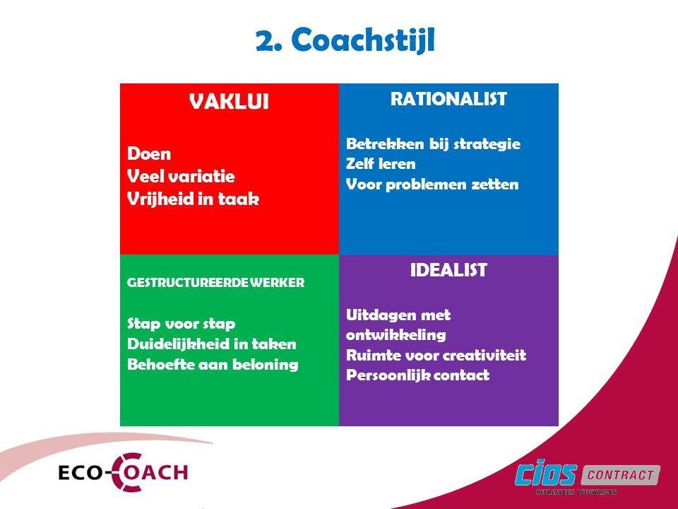 2. Coachstijl VAKLUI Doen Veel variatie Vrijheid in taak GESTRUCTUREERDE WERKER Stap voor stap Duidelijkheid in taken Behoefte aan beloning IDEALIST U