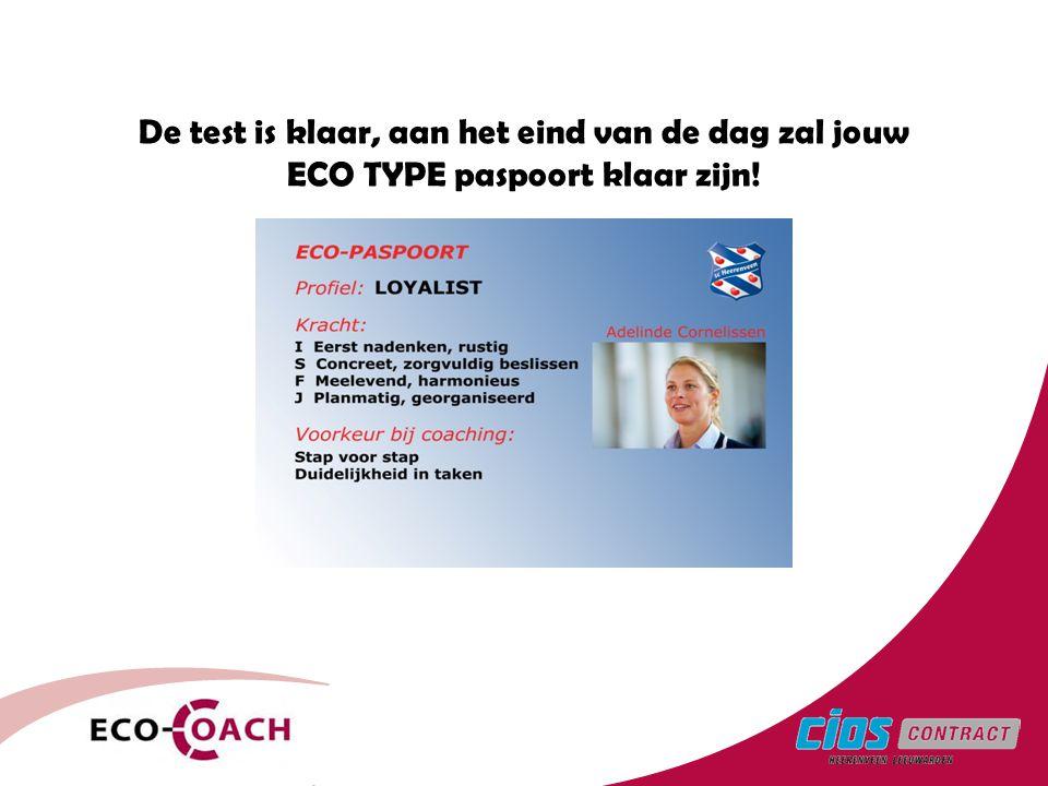 De test is klaar, aan het eind van de dag zal jouw ECO TYPE paspoort klaar zijn!