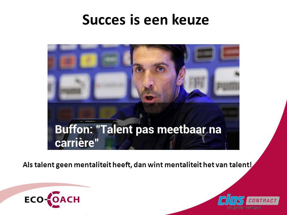 3 Succes is een keuze Als talent geen mentaliteit heeft, dan wint mentaliteit het van talent!