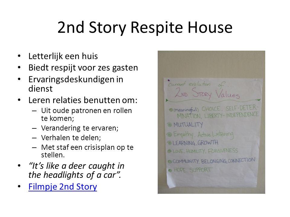 2nd Story Respite House • Letterlijk een huis • Biedt respijt voor zes gasten • Ervaringsdeskundigen in dienst • Leren relaties benutten om: – Uit oude patronen en rollen te komen; – Verandering te ervaren; – Verhalen te delen; – Met staf een crisisplan op te stellen.