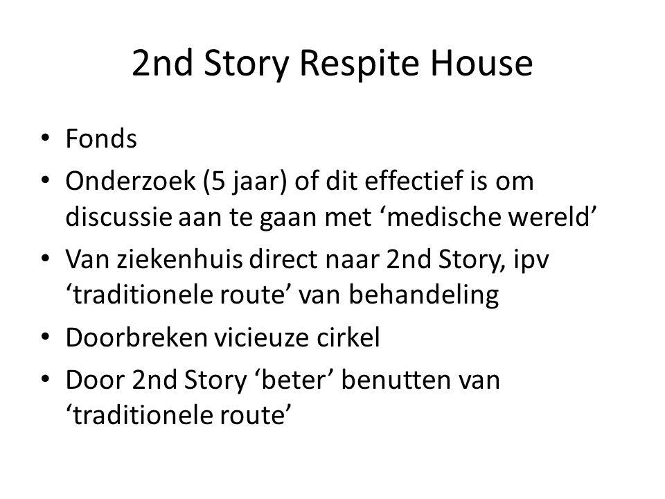 2nd Story Respite House • Fonds • Onderzoek (5 jaar) of dit effectief is om discussie aan te gaan met 'medische wereld' • Van ziekenhuis direct naar 2nd Story, ipv 'traditionele route' van behandeling • Doorbreken vicieuze cirkel • Door 2nd Story 'beter' benutten van 'traditionele route'