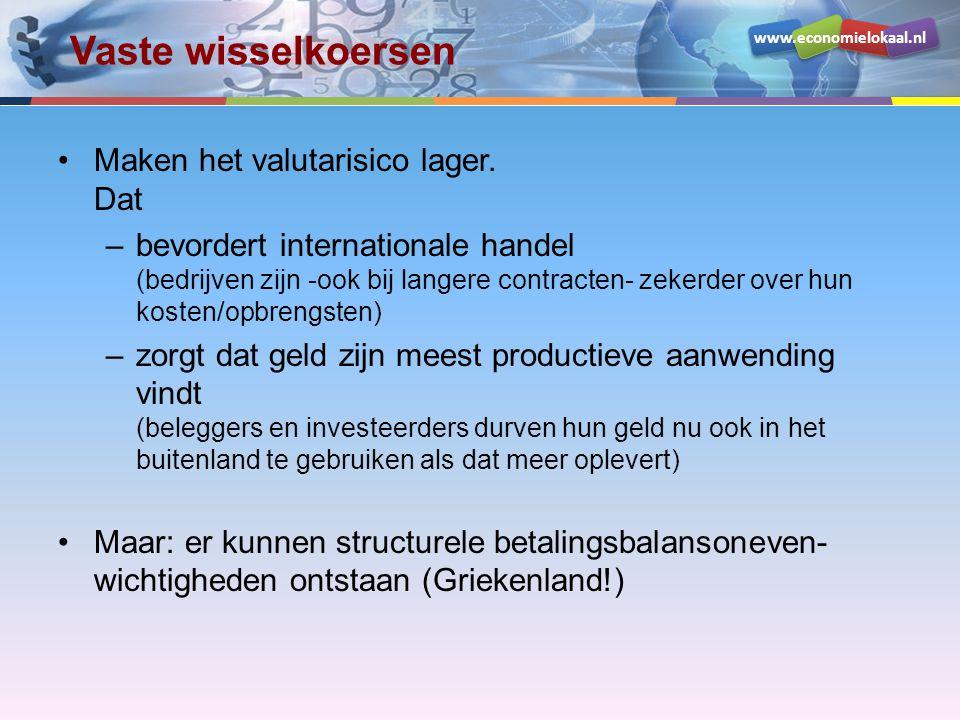 www.economielokaal.nl Vaste wisselkoersen •Maken het valutarisico lager. Dat –bevordert internationale handel (bedrijven zijn -ook bij langere contrac
