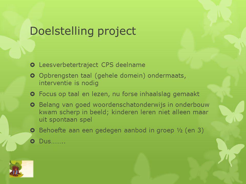 Doelstelling project  Leesverbetertraject CPS deelname  Opbrengsten taal (gehele domein) ondermaats, interventie is nodig  Focus op taal en lezen,