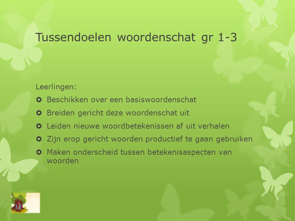 Tussendoelen woordenschat gr 1-3 Leerlingen:  Beschikken over een basiswoordenschat  Breiden gericht deze woordenschat uit  Leiden nieuwe woordbete