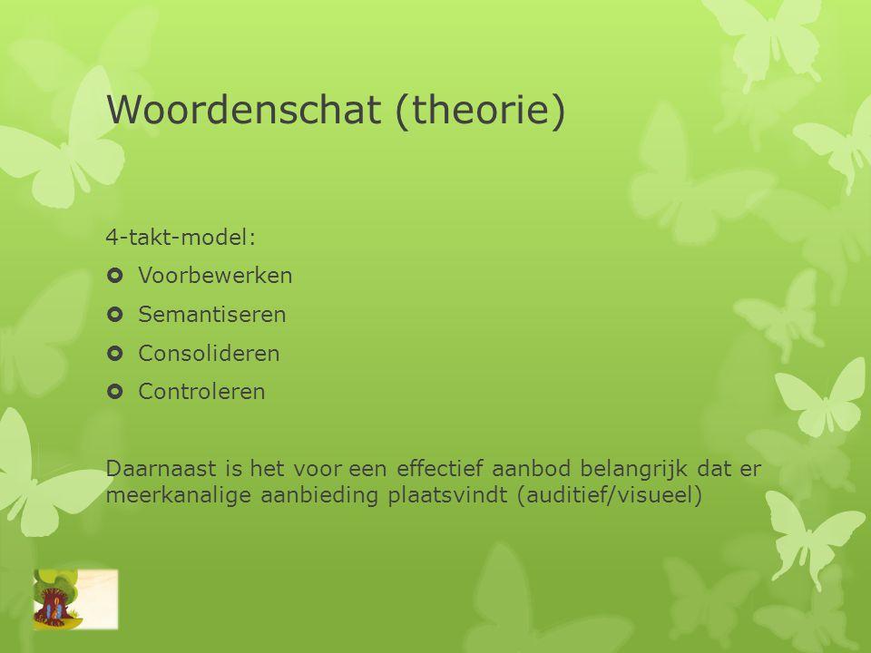 Woordenschat (theorie) 4-takt-model:  Voorbewerken  Semantiseren  Consolideren  Controleren Daarnaast is het voor een effectief aanbod belangrijk