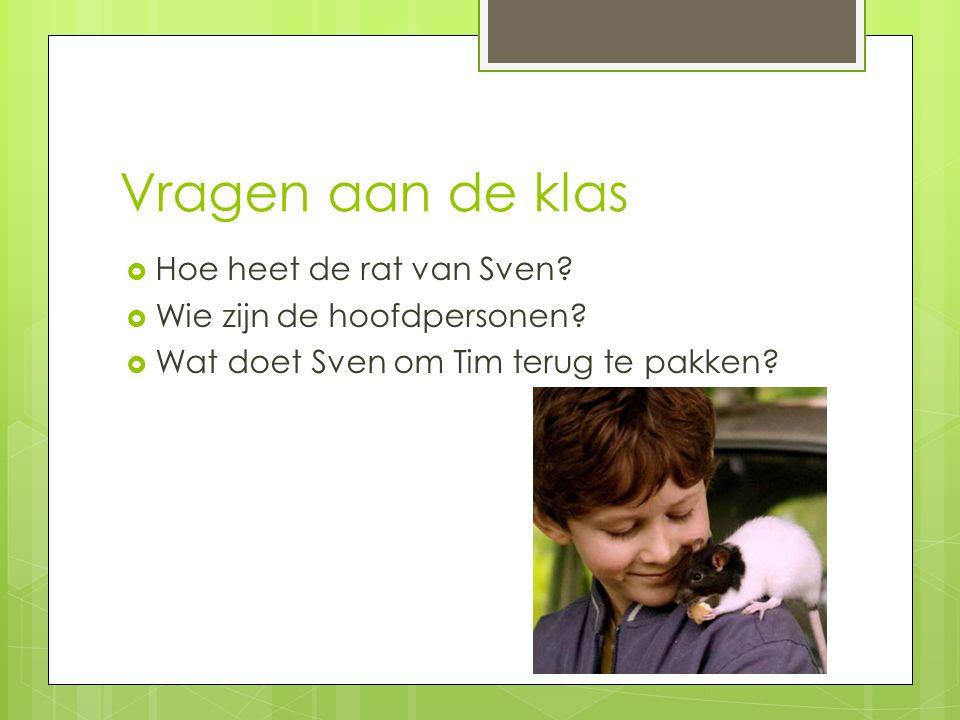 Vragen aan de klas  Hoe heet de rat van Sven?  Wie zijn de hoofdpersonen?  Wat doet Sven om Tim terug te pakken?