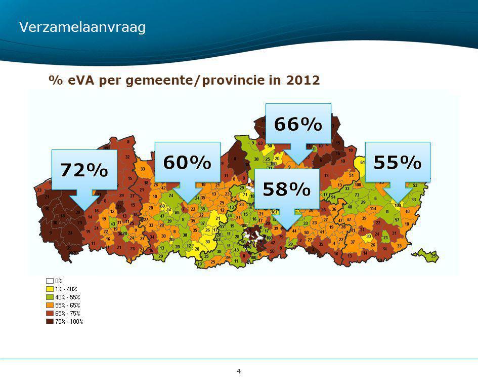 44 % eVA per gemeente/provincie in 2012