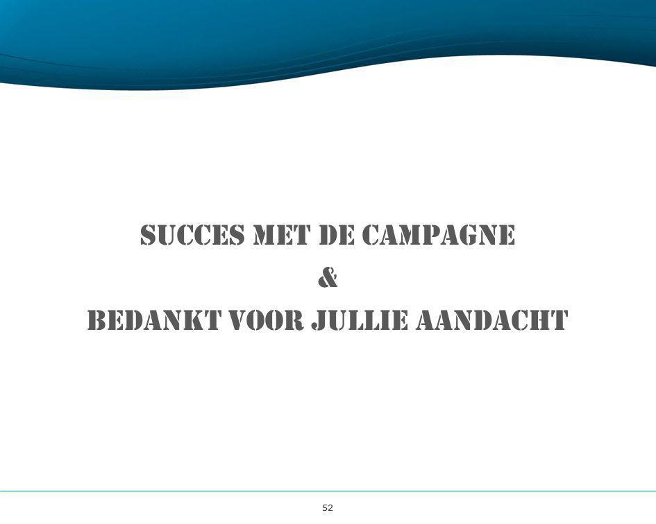 52 Succes met de campagne & Bedankt voor jullie aandacht