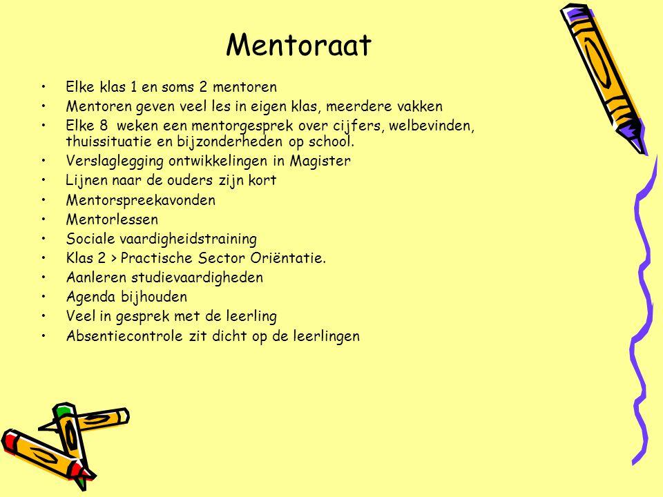 Mentoraat •Elke klas 1 en soms 2 mentoren •Mentoren geven veel les in eigen klas, meerdere vakken •Elke 8 weken een mentorgesprek over cijfers, welbev