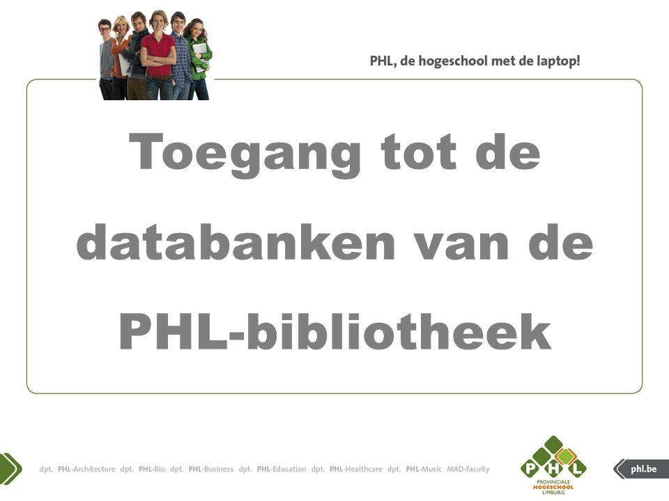 Toegang tot de databanken van de PHL-bibliotheek