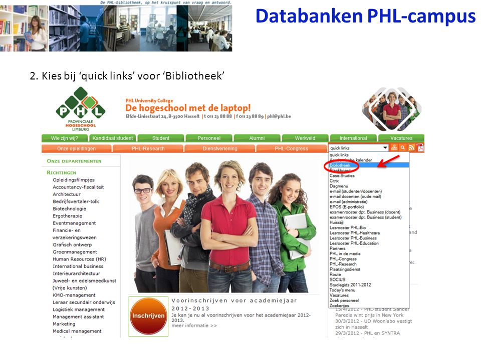 3. Klik op 'Databanken' Databanken PHL-campus