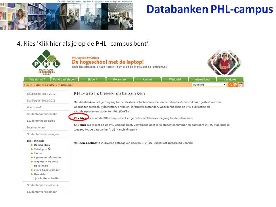 5.Zoek de gewenste databank en klik erop. Bijvoorbeeld: Springer Online Journals.