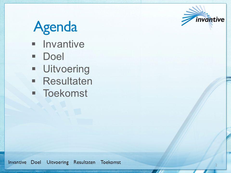 Agenda 2  Invantive InvantiveUitvoeringResultatenToekomstDoel  Doel  Uitvoering  Resultaten  Toekomst