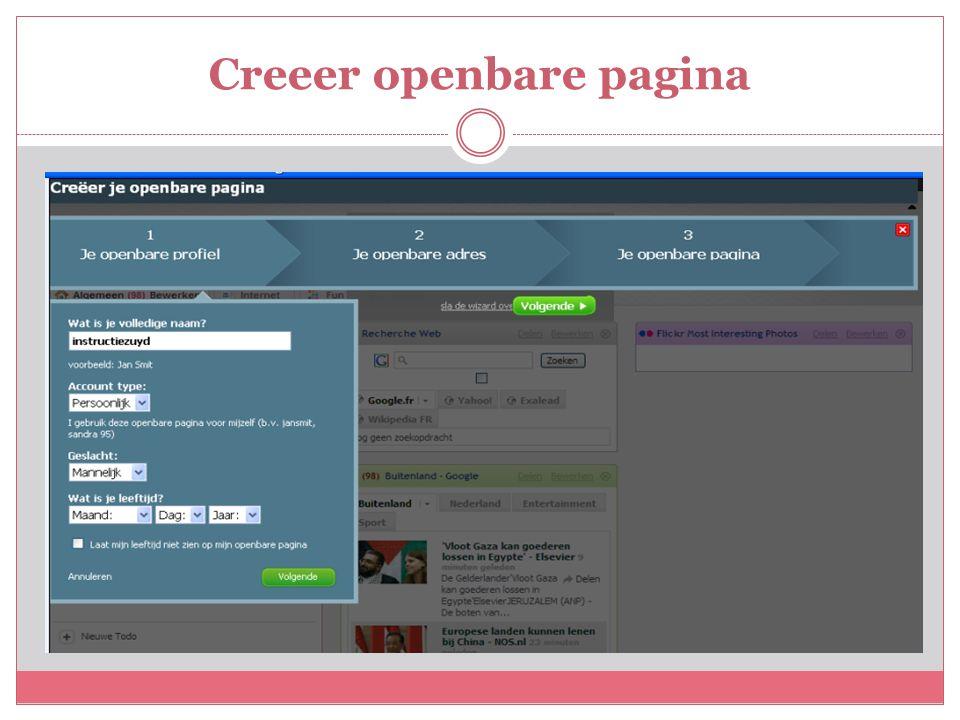 Creeer openbare pagina