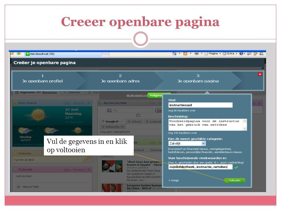 Creeer openbare pagina Vul de gegevens in en klik op voltooien
