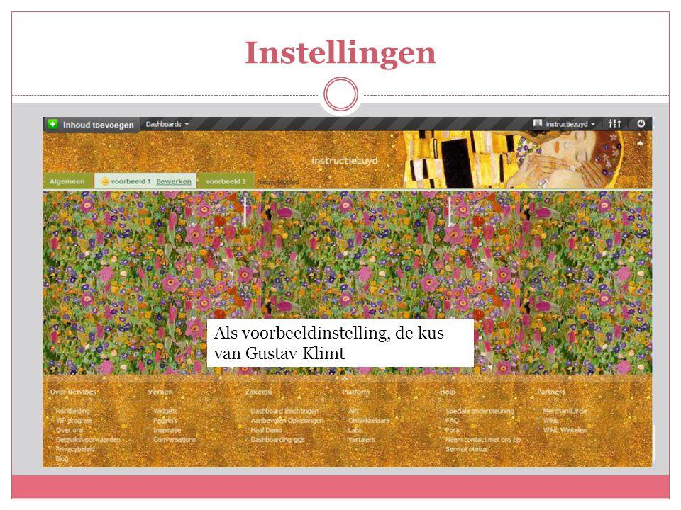 Instellingen Als voorbeeldinstelling, de kus van Gustav Klimt