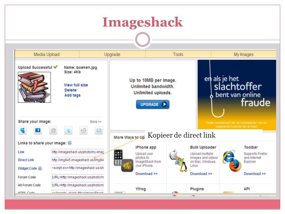 Imageshack Kopieer de direct link