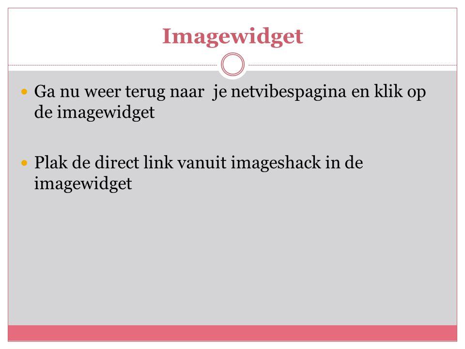 Imagewidget  Ga nu weer terug naar je netvibespagina en klik op de imagewidget  Plak de direct link vanuit imageshack in de imagewidget