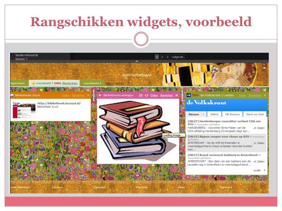 Rangschikken widgets, voorbeeld
