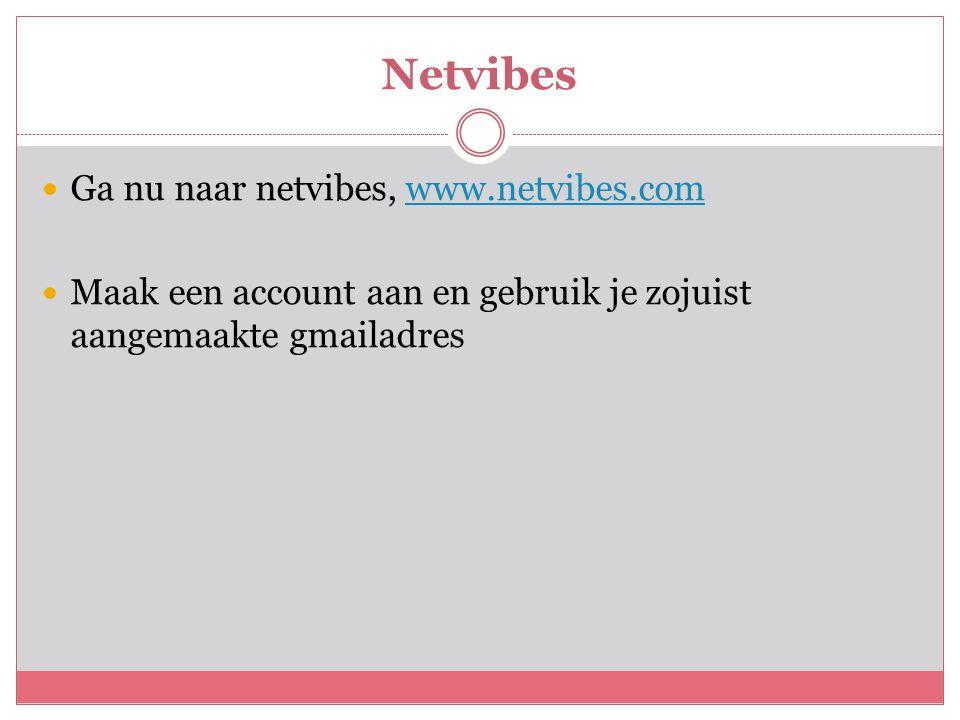 Netvibes  Ga nu naar netvibes, www.netvibes.comwww.netvibes.com  Maak een account aan en gebruik je zojuist aangemaakte gmailadres