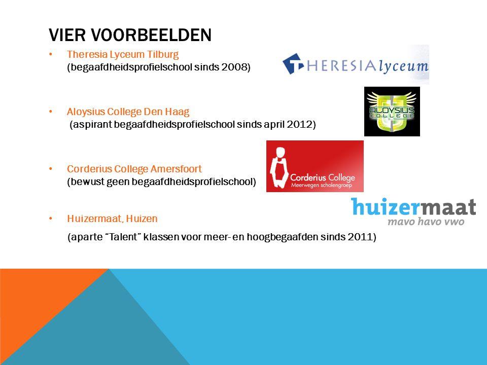 VIER VOORBEELDEN • Theresia Lyceum Tilburg (begaafdheidsprofielschool sinds 2008) • Aloysius College Den Haag (aspirant begaafdheidsprofielschool sind