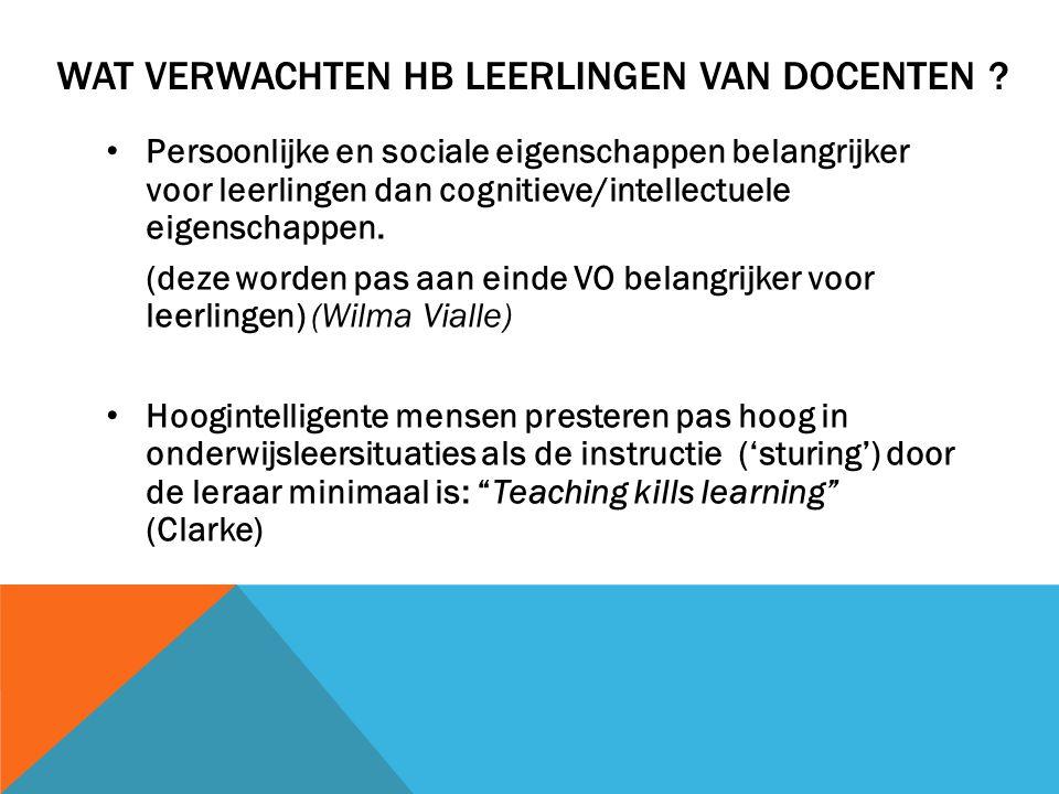 WAT VERWACHTEN HB LEERLINGEN VAN DOCENTEN ? • Persoonlijke en sociale eigenschappen belangrijker voor leerlingen dan cognitieve/intellectuele eigensch